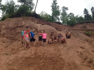 The TrailBlazers had a blast climbing up and sliding down the clay hills at Saxon Harbor.