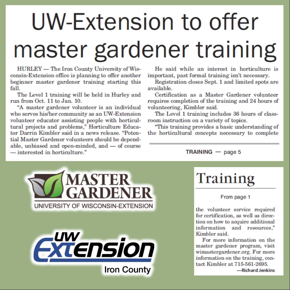 Uw Extension To Offer Master Gardener Training Iron County